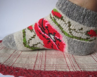 Pattern Red Poppies. Nordic Beautiful knitted of high quality Angora wool socks for women. EU-37-39/ US- 7-9 Soft, warm and very comfortable