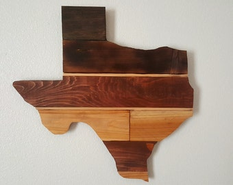 Rustic Texas Shaped Reclaimed Wood Wall Art - Rustic Wedding Guestbook- Unique Gift Idea