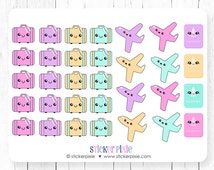 Kawaii Travel Sticker Sheets, Planner Stickers, Plane stickers, suitcase stickers, passport stickers