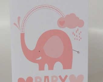 NEW BABY CARD Girl ---Showering Elephant Pink ---Baby shower card--- New Baby Greeting card