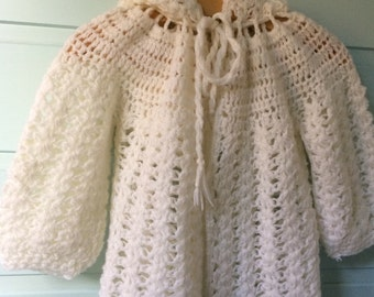 Cape hooded burnou broken white crochet vest 18 months 2 years baby girl boy handmade layette