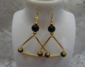 Earrings Gold Black  Triangle earrings  Black pearl earrings glass Gold tubes earrings  Dangle