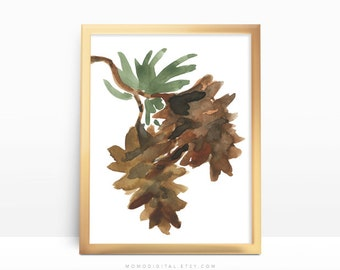SALE -  Pinecone, Watercolor, Christmas Poster, Brown Green Watercolor, Guest Room Print, Living Room Home Kitchen Room, Holiday Print