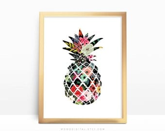 SALE -  Floral Pineapple, Flower Pattern, Shabby Chic Style, BOHO, Baby Girl Nursery, Fruit Silhouette, Food Poster, Modernism Art