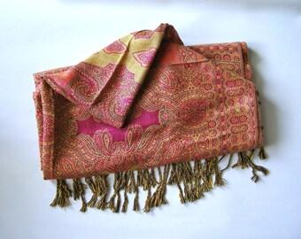 Pashmina scarf - silk - Cashmere - Wool pink - pashmina scarf - Pashmina vintage 90