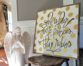 "Proverbs 3, ""Far More Precious"" Handpainted Wood Sign 2x2"