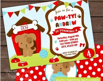 Boy Puppy Invitation / Birthday Invitation