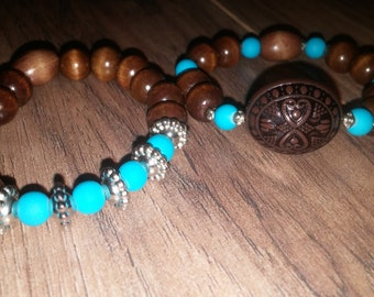 Boho hippie brown & turquoise bead bracelet set