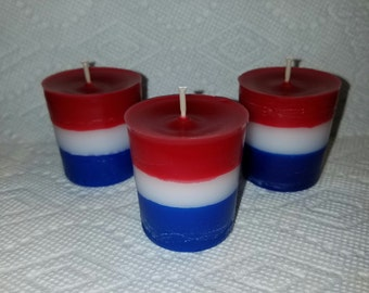 Red White and Blue Votives, 6 pack of red white and blue votives, 4th of July votives, scented votives