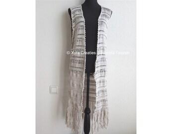 PATR1075 - Xyra Crochet-pattern - Long gilet / vest without sleeves - Boho / Ibiza style - (English-US & Dutch)