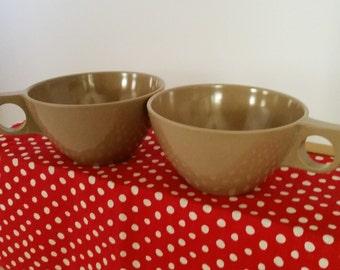 Boonton Vintage Melmac Brown Coffee Cups Set of 2