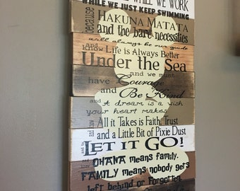 Disney Quotes planked wood Mickey Mouse wood sign Red and brown