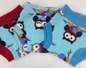 Fleece Soaker Cloth Diaper Cover - Owls