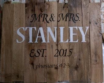 Rustic Reclaimed Wood Handpainted Anniversary Sign