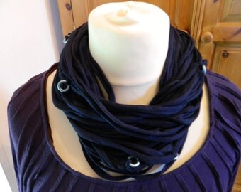 Infinity Jersey Scarf Necklace Boho Lagenlook Hippy Fairy Pixie Navy Blue Upcycled