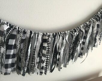 Petit garland // nursery garland // fabric garland // fabric banner // backdrop garland // nursery decor // black and white