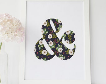 Cute ampersand Print, Wedding Ampersand, Floral ampersand, Alphabet, Girly Ampersand, Floral Ampersand, Ampersand alphabet, Wedding And Sign