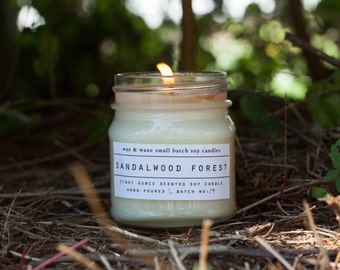 Sandalwood Forest Soy Candle - sandalwood candle - winter candle - christmas gift - scented candles