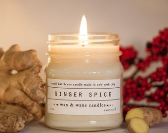 Ginger Spice - Ginger Scented Soy Candle - Gingerbread Christmas Candle - Winter Candle