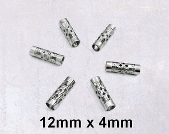 25 x Hollow Stainless Steel Filigree Tube Beads 12mm x 4mm