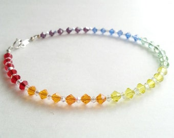 Rainbow crystal anklet, beaded summer anklet, colorful anklet, crystal beaded anklet, summer jewelry, handmade anklet, pride jewelry