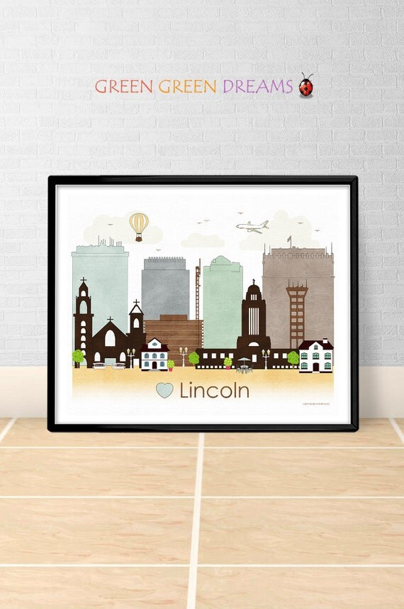 Lincoln poster print wall art lincoln nebraska by Home decor lincoln ne