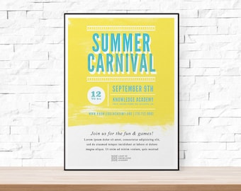 DIY Printable Summer School Carnival Flyer Template, Word Flyer Templates,  Bazaar Flyer, Kids  Flyer Templates Word