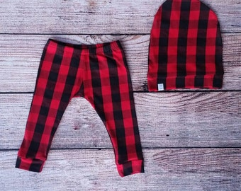 Baby/ Toddler Leggings and Slouch Beanie Set/ Red and Black Buffalo Plaid