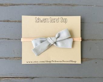Grey fabric bow headband, hand tied bow, baby girl headband, baby bow headband, baby headband, baby hair bow, newborn headband, infant bow