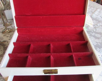 VTG Buxton Jewelry Box Made in U.S.A. / VTG Coffre À Bijoux Plusieurs Compartiments / VINTAGE Jewelry Box Leather Off White