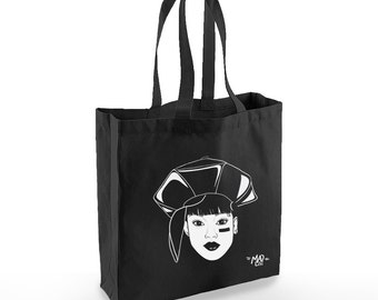 "Cabas-Totebag ""LEFT EYE""  100 % coton bio"