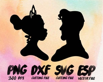 Disney couple Tiana and Naveen  Clipart , SVG Cutting , ESP Vectors files , T shirt , iron on , sticker ,Personal Use