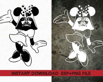 Minnie Vader Clip Art,T shirt, iron on , sticker, Vectors files ,Personal Use