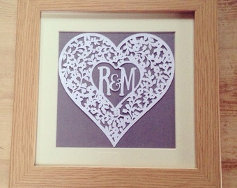 Valentines / Wedding / Anniversary personalised love heart papercut