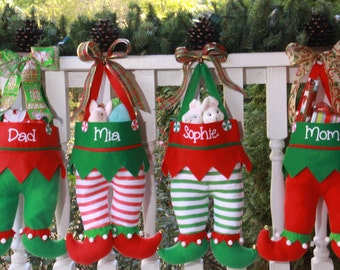 Elf Pants Stocking Personalized Embroidered