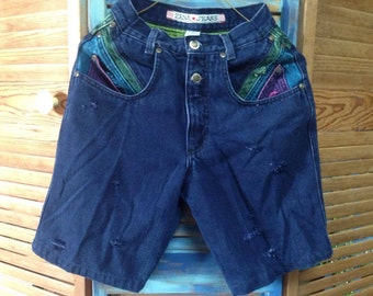VINTAGE: Vintage ZENA Multi Color 4-ToneShorts /High Waisted (Size 3) Distressed Shorts.{H1-243#00900}