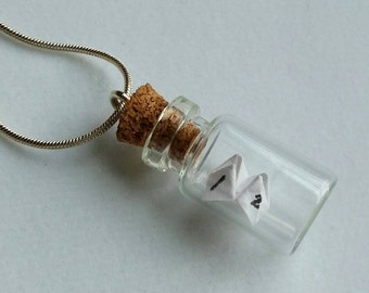 Paper fortune teller bottle Necklace.  Glass Vial Necklace. Glass Bottle Pendant. Cootie catcher. Miniature bottle. Origami pendant