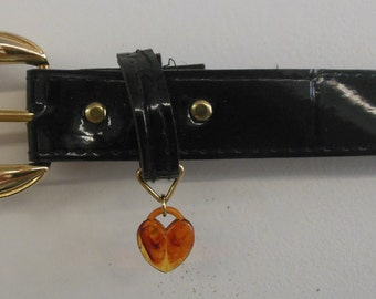 1980s High Waisted Skinny Belt with Heart Charm Size Medium