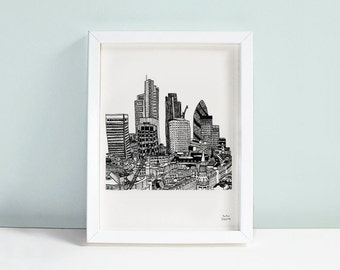 London Skyline Print - Limited Edition Signed A5 Wall Art Illustration