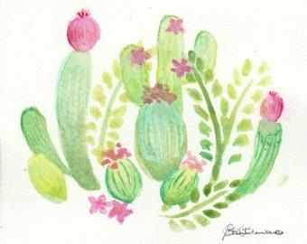 cactus, cacti, original watercolor painting, plants, succulents, planten, plant, waterverf schilderij, cactusses, cactussen, blooming,floral