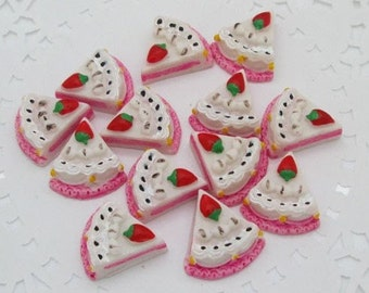 5 Piece Pink Cake with White Frosting and Strawberry Cabochons - Kawaii Decoden Flatback Resin (TDK-C1060)