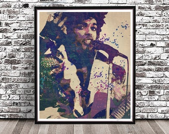 Vintage Prince Purple Rain, watercolor PRINT, Guitar Prince Singer, Prince Musician, Roger Nelson painting poster Portrait Prince The Artist