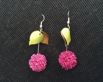 Raspberry Earrings Aretes Frambuesa