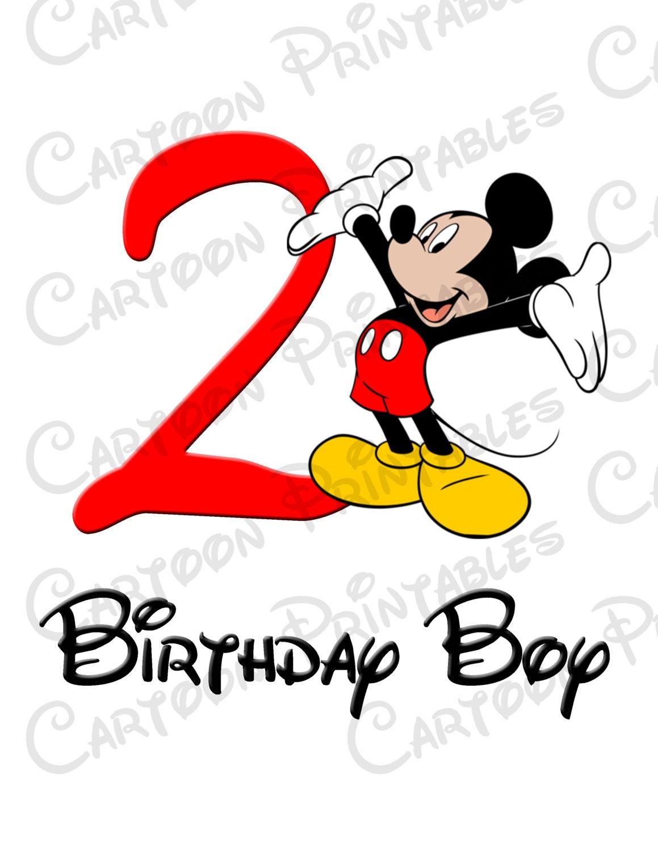 Mickey Mouse Second 2nd Birthday Boy IMAGE Printable Clip Art Iron on Disney Shirt T-shirt ...