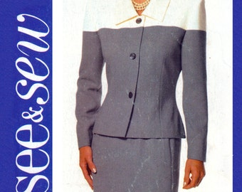 90's See and Sew 6322 Unlined Jacket with Contrast Upper Sections and Straight Skirt, Uncut, Factory Folded Sewing Pattern Size 14-18