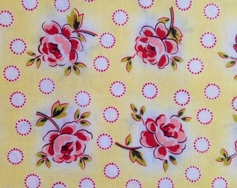 Clearance  Windham Fabrics, Morning Glory Collection #25913-25, Medium Floral pattern--yellow background,  Cotton quilt fabric, By the Yard