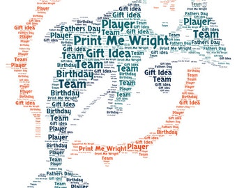 Personalised word art, resembling Miami Dolphins dsign, digital image, great gift for Father's Day, birthday, football fan gift