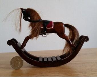 Handmade hardwood dolls house miniature rocking horse 1.12 scale