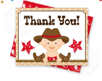 Red Cowboy Baby Printable Thank You, 4X5 Thank You Note, Printable Thank You, Cowboy Baby Shower Thank You Card, Folding, Download