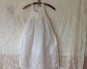 Flower Girl, Birthday, Special Occasion Lace Upcycled Dress Sz 7 girls